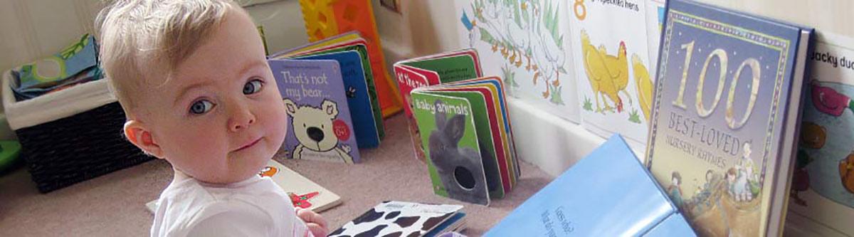 Toddler choosing a book