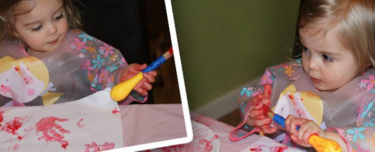 Child playing with craft materials